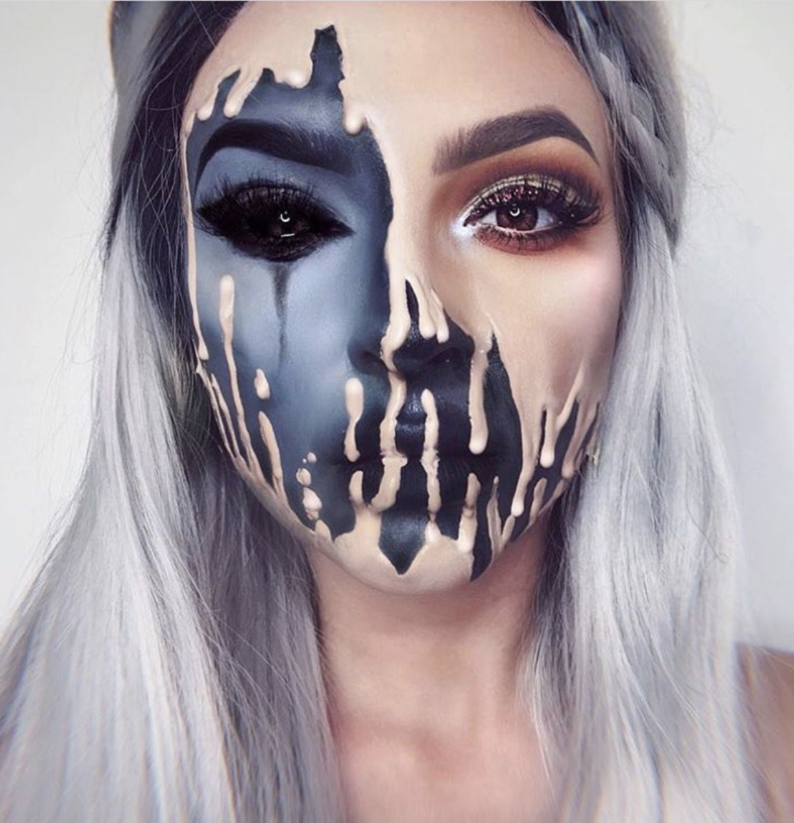 41 Most Jaw-Dropping Halloween Makeup Ideas That Are Still Pretty: Melting Face Makeup / Unicorn Hair. Click though to see more awe inspiring pretty Halloween makeup looks, gorgeous Halloween makeup and Halloween costumes. #halloweenmakeup #halloweenmakeuppretty #halloweencostumes #halloweenmakeupinspo #meltingfacemakeup