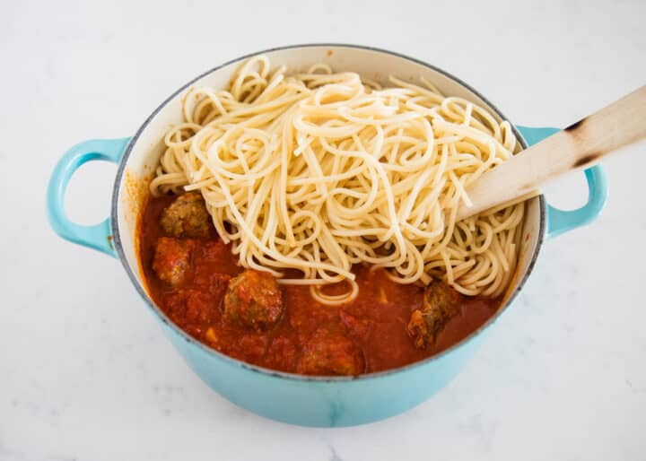 spaghetti and meatballs in pot