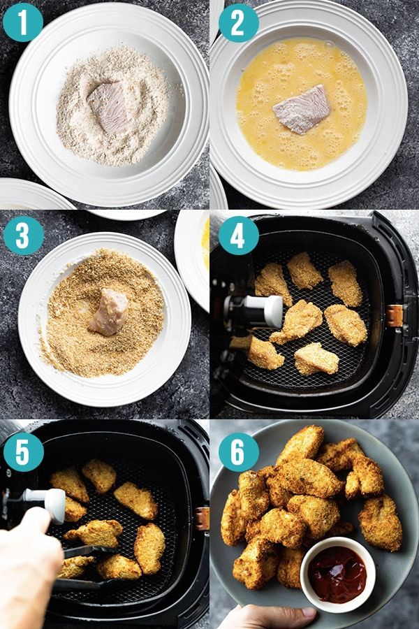 collage image showing how to make air fryer chicken nuggets
