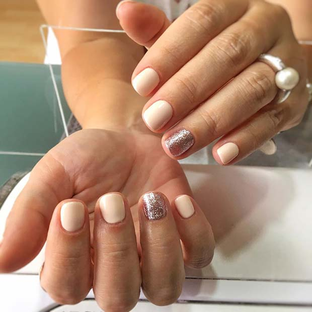 Natural Nails with Glitter