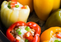 Crock Pot Stuffed Peppers (5 ingredients!)
